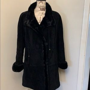 Gallery Heavy weight suede leather coat -xs